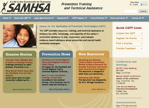 SAMHSA's Center for the Application of Prevention Technologies home page