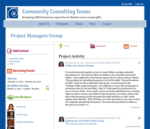 Community Consulting Teams project landing page