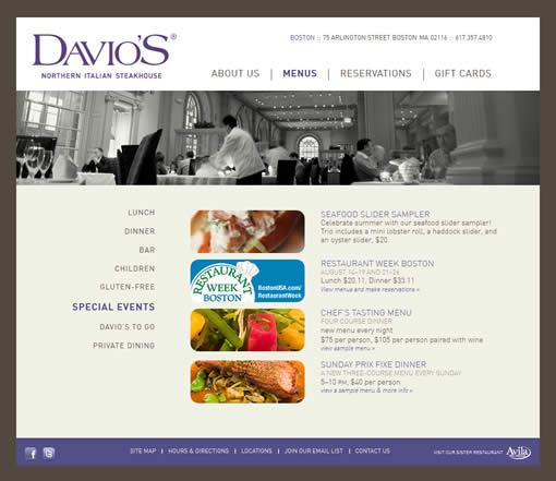 Davio's Special Events page