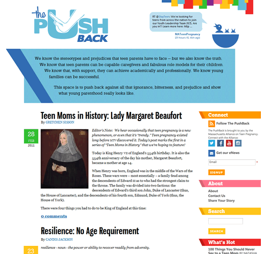 The PushBack home page